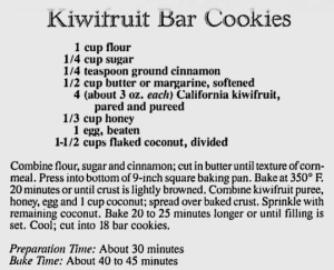 Kiwifruit Bar Cookies